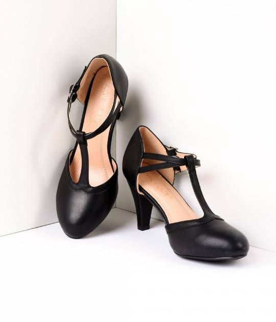 For Sale At Banned Black  Cream Alice Classic Court Shoes Vintage Classic Kitten Heel Pointed T