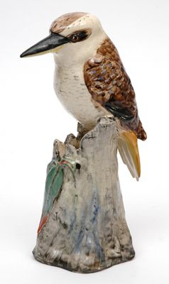 Grace Seccombe, New South Wales, circa 1926, pottery flower holder modelled as a kookaburra painted Australia.