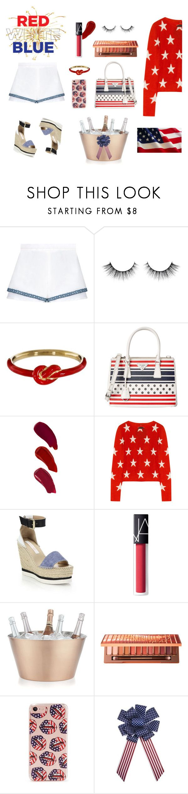 """Red, White & Blue: Celebrate the 4th!"" by spark-llay ❤ liked on Polyvore featuring Nora Kogan, Prada, Ellis Faas, Banjo & Matilda, See by Chloé, NARS Cosmetics, Crate and Barrel, Urban Decay, Forever 21 and fourthofjuly"