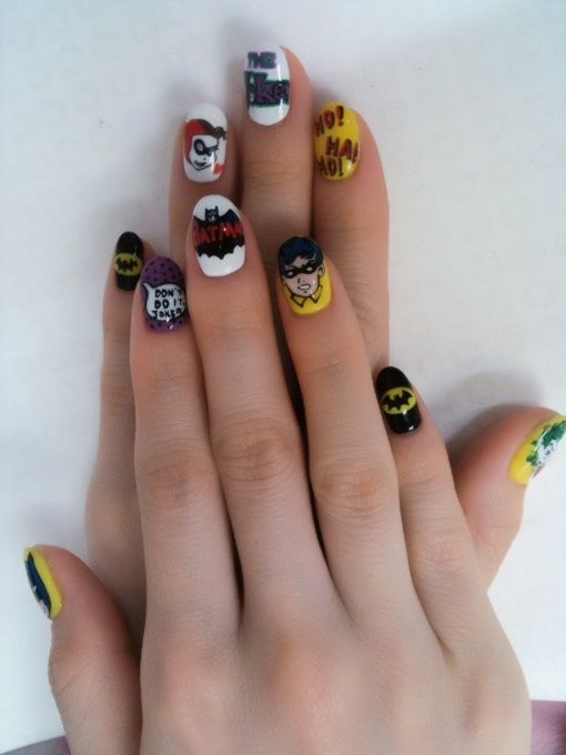 Batman Nail Art! Love it! The faces are too complicated for me, but the rest I'm gonna try!
