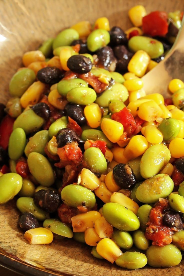 Edamame Corn And Black Bean Salad Recipe With Red Wine Vinegar Grapeseed Oil Cilantrom Lime Sugar Garlic T Edamame Recipes Bean Salad Recipes Bean Salad