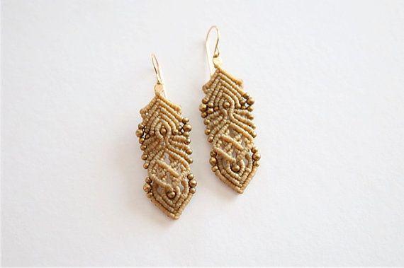 women hoop earrings. micro macrame earrings. by AdiVardiJewelry