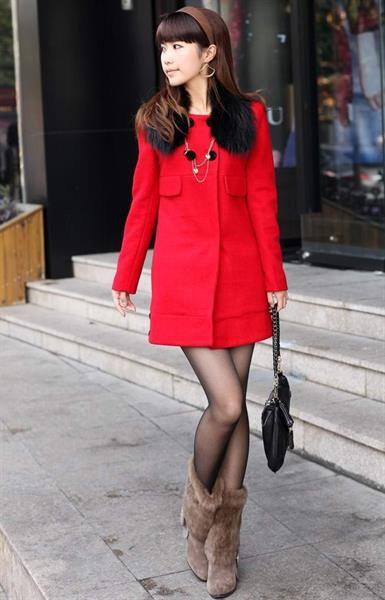 Купить пальто красное короткое