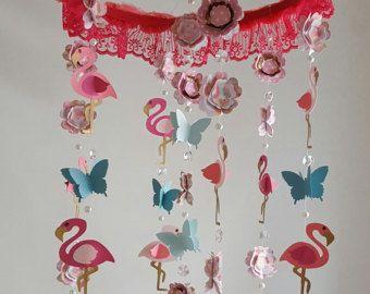 AL orden Flamingo mariposa bebé móvil Coral Aqua rosa brillante del brillo oro flamenco vivero móvil