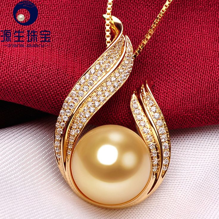 Aliexpress.com : Buy Golden South Sea Pearl Pendant Necklace with Perfectly Round 13 14mm AAAA 18K Gold accented 102pcs Diamond On Sale from Reliable pendant owl suppliers on pearls by yuansheng