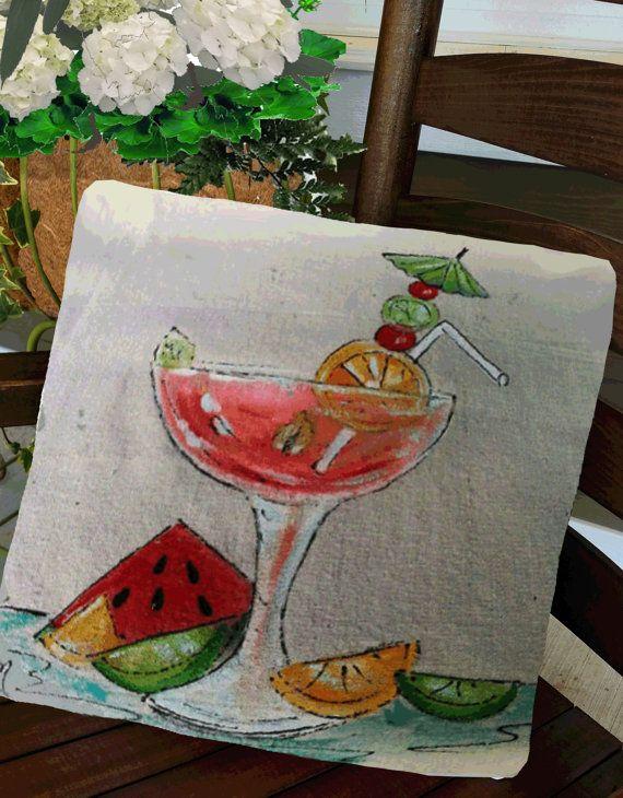 Leuk, zomer, Fruit drinken, Food, Home Decor, watermeloen, Fruit ontwerpen, Indoor/Outdoor kussens, handgeschilderd, kussensloop