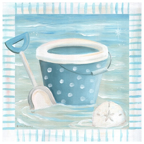 Beach Day Pail Canvas Artwork In Blue : Popular Artwork For Boys at PoshTots