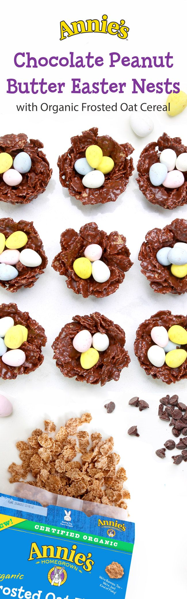 These Chocolate Peanut Butter Egg Nests are quick and easy to whip up for a special chewy, chocolatey, Easter treat!  All you need is a box of Annie's Organic Oat Flakes Cereal, some chocolate chips, peanut butter, and organic corn syrup, your chocolate eggs of choice… and you've got adorable, edible, egg nests perfect for an Easter or springtime treat!