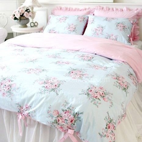 Shabby and Elegant Blue Rose pink Gingham 4pc Bedding Set
