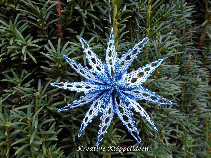Weihnachtsdeko - Klöppelstern in Blautönen geklöppelter Stern - ein Designerstück von Kreative-Kloeppelideen bei DaWanda