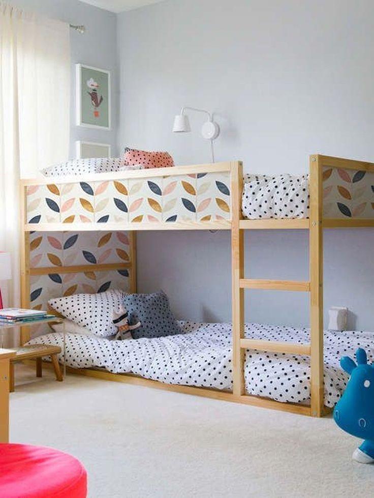 Ikea Kura Bett Umgestalten Hochbett Holz Tapeziert Motive Weiss