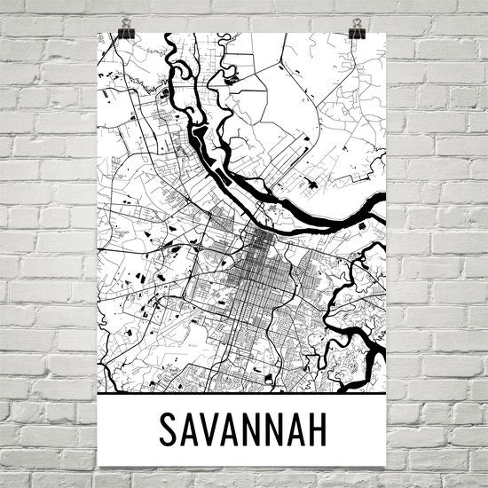 Savannah Map Art Print, Savannah GA Art Poster, Savannah Wall Art, Map of Savannah, Savannah Print, Gift, Birthday, Decor, Modern, Art