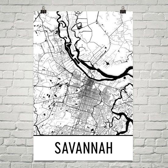 Savannah Map Art Print, Savannah GA Art Poster, Savannah Wall Art, Savannah Gift, Birthday, Decor, Modern, Art