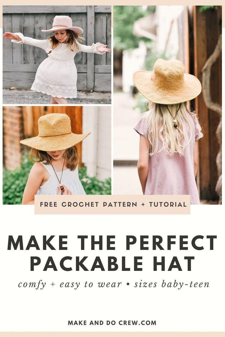 Fedora Crochet Sun Hat Pattern Free Pattern Video Tutorial In 2021 Crochet Sun Hat Crochet Summer Hats Hat Pattern