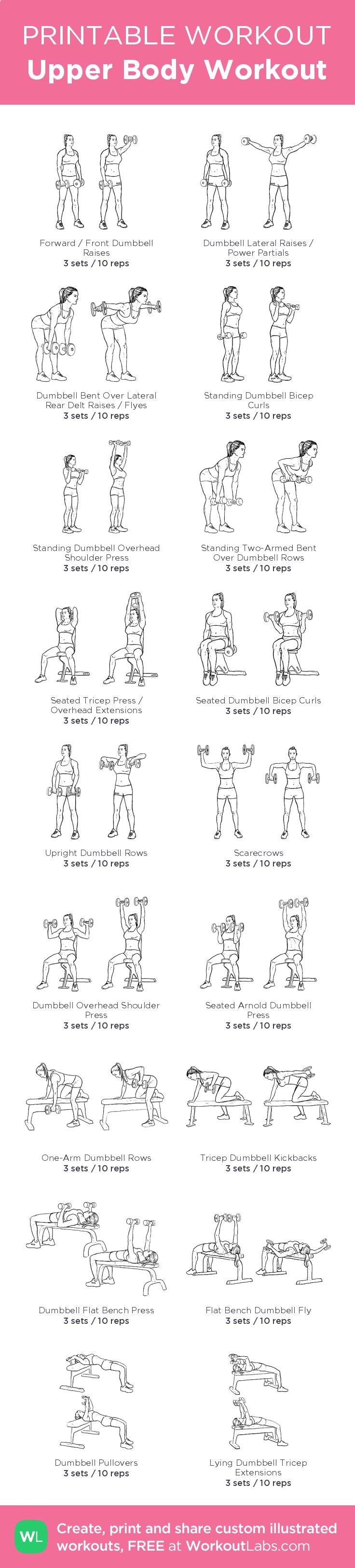Upper Body Workout – illustrated exercise plan created at WorkoutLabs.com • Click for a printable PDF and to build your own #customworkout