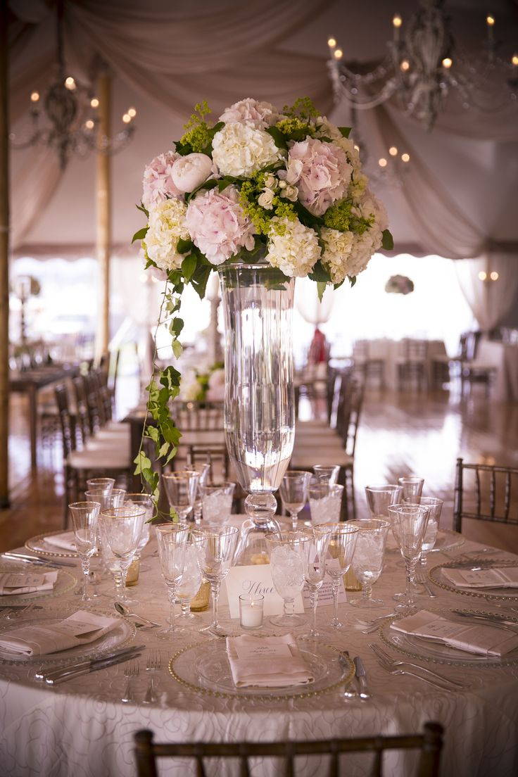 Tall hydrangea centerpieces mbv photography theknot
