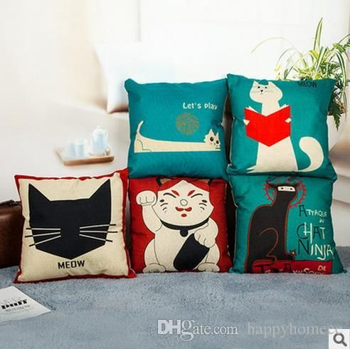 Cat Style Fashion New Cushion Cat Print Pillow Bed Sofa Home Case Decorative Pillow Fundas Para Almofadas Cojines Outdoor Cushion Covers Online Wicker Patio Furniture Cushions Replacement From Happyhomeee, $4.77| Dhgate.Com