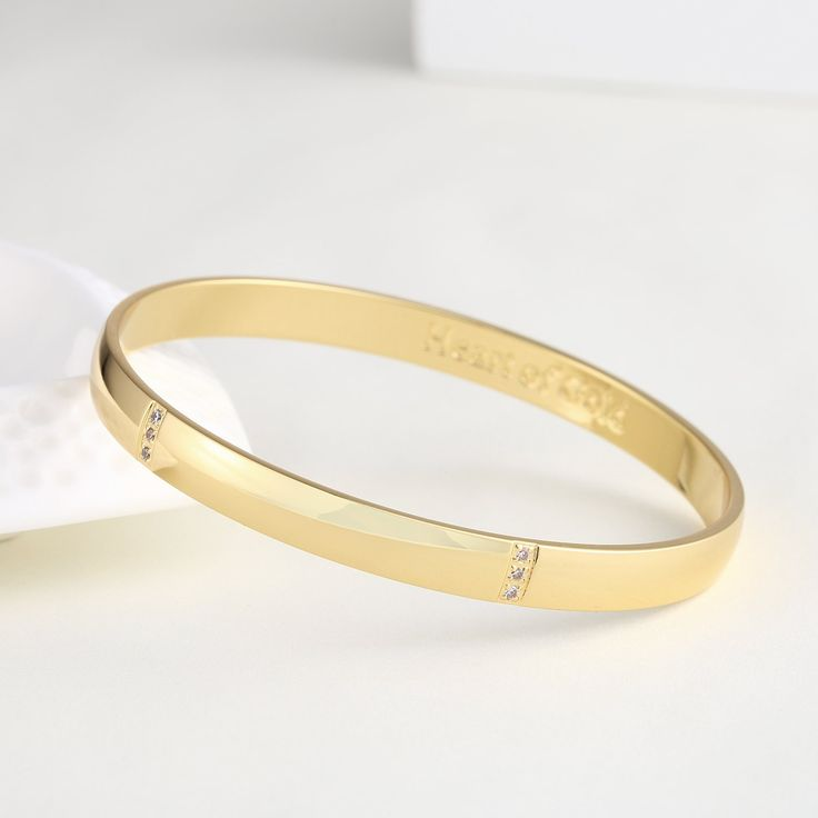 GuqiGuli Solid Gold/White Gold/Rose Gold Plated Engraved Bangles for Women, 8.6 inch