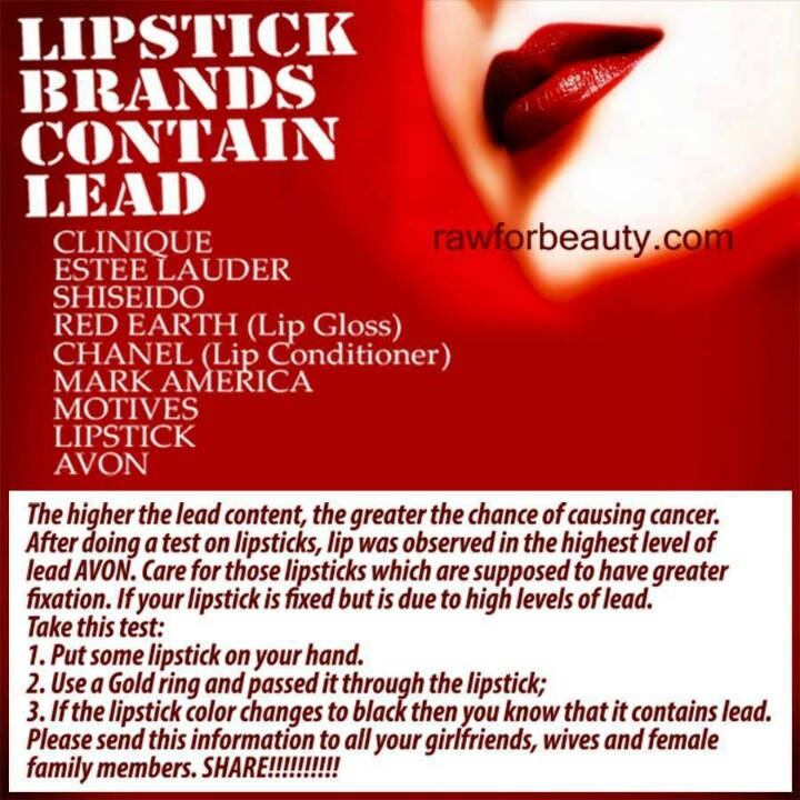 use of lead in cosmetics Puckering up this valentine's day you might want to leave lipstick out of the picture a new report from the fda shows 400 lipsticks - including popular brands such as l'oreal and cover girl - contain traces of lead.