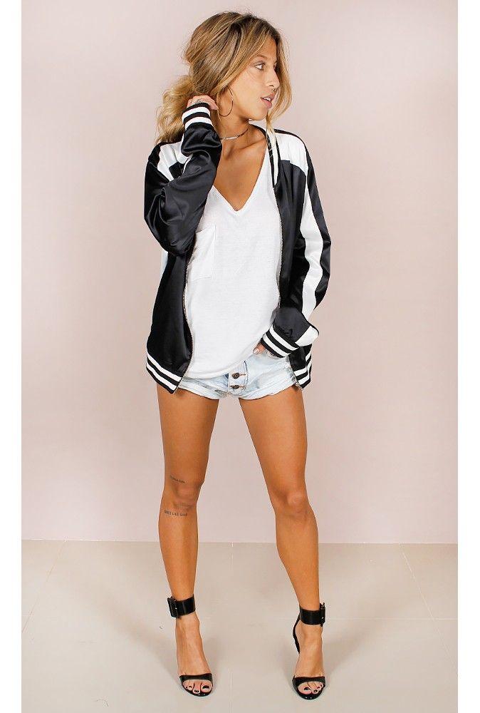 Jaqueta Bomber Cetim Preta Fashion Closet - fashioncloset