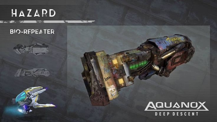#Aquanox Deep Descent -  have a look at the weapons' concepts. We are doing our best to make sure that every weapon feels unique and uses different tactics. Some will be perfect for old fashioned close distance action in the narrow caves, some for a more stealth-based approach.  And of course, there will also be torpedoes! ;) You will have the possibility of combining them in pairs, using supporting weapons and counter-measures to complement the whole system we are working on.  In the next…