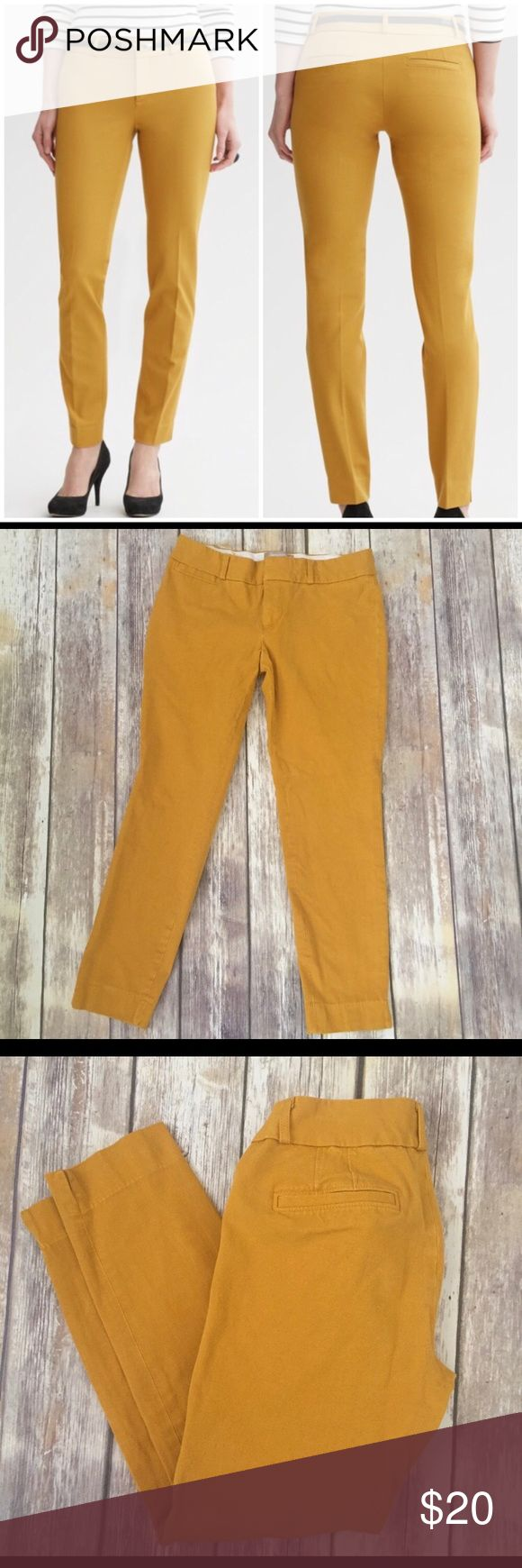 "Banana Republic Sloan Fit Pants in Mustard Banana Republic Sloan Fit Pants in mustard yellow. Very good condition with no flaws. Stretchy and made of 56% viscose, 39% cotton, and 5% spandex. Size 6. Approximate measurements flat and unstretched: waist 30"", inseam 26.5"".  ⚓️ No holds or trades. I negotiate only through the offer button. Thank you for looking! 🚭🐩T2 Banana Republic Pants Ankle & Cropped"
