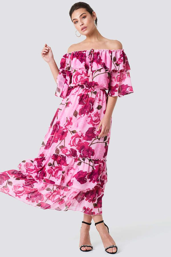 d24c4c112c4 Off Shoulder Flounce Maxi Dress in 2019 | Pinks & Pastels | Dresses ...