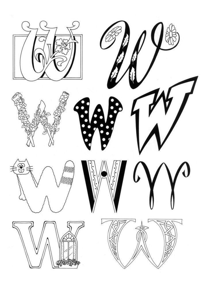 Hanging Hearts Alphabet Embroidery Design  |The Letter W Designs
