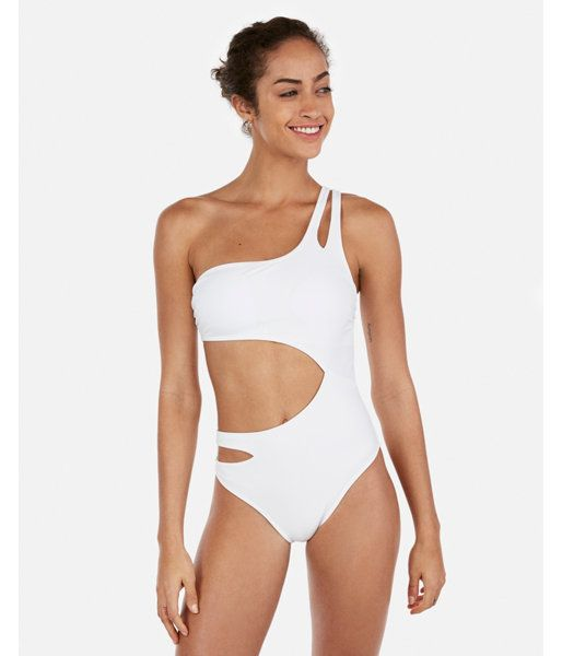 f8313882e Solid One Shoulder Cut-Out One-Piece Swimsuit White Women's S ...