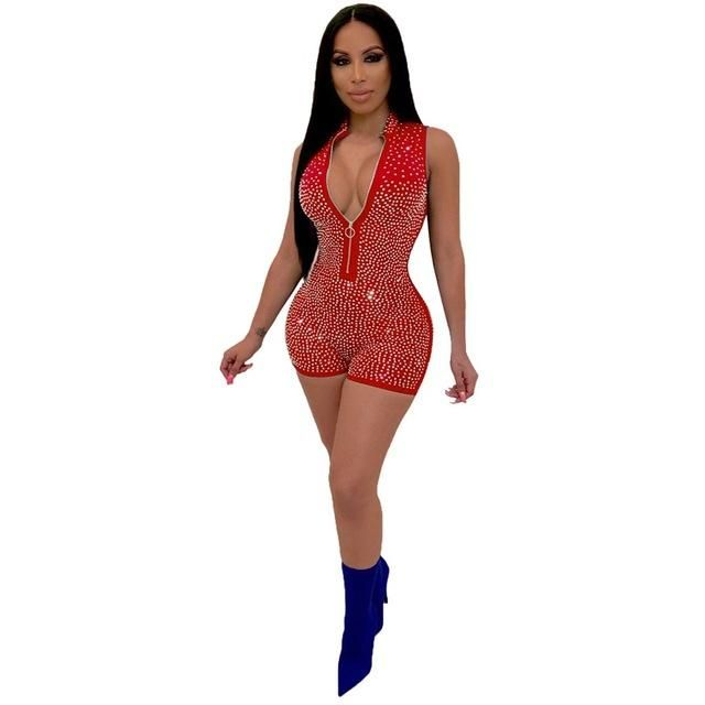 Womail bodysuit Women summer sexy V Neck Sleeveless Rompers Casual Zipper Playsuit Fashion clubwear Short Jumpsuits party 107 1