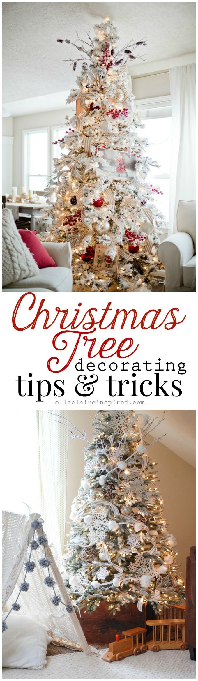 The best tips and tricks to create a gorgeous Christmas tree for your home this holiday season! It is easier than you think to have a more professional looking tree. Find the details at ellaclaireinspired.com: