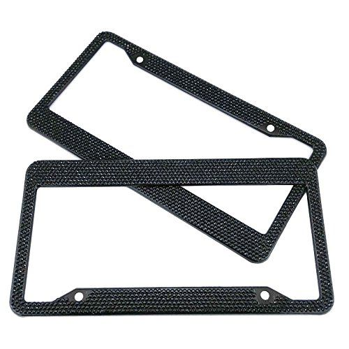 Set of 2 BMW Jeep Wrangler Car License Plate Frame Holder Cover Bracket For Women Girl Men Black Bling Diamond Sparkle Rhinestone Crystal Stainless Steel Metal Chrome with Screw 2 Pack 122x 63 ** Want to know more, click on the image.Note:It is affiliate link to Amazon.