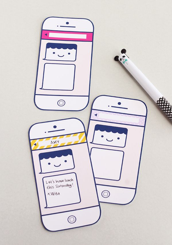 So cute! Free printable texting cards from Design is Yay. Great for a summer camper...or anyone really.