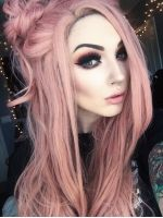 Peach Pink Long Wavy Lace Front Synthetic Wig SNY102 - SYNTHETIC WIGS - DonaLoveHair