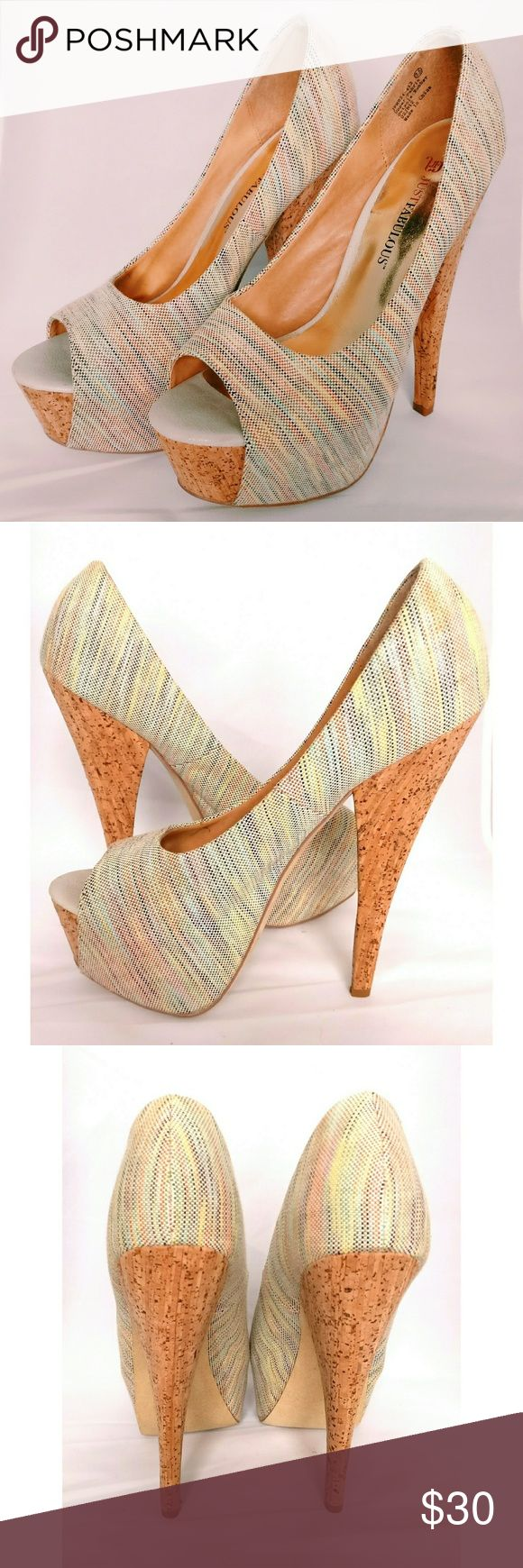 Bouchons, Justfab, Bout Ouvert, Plate forme, Abs, Chaussures Talons, Pompe, Lumières