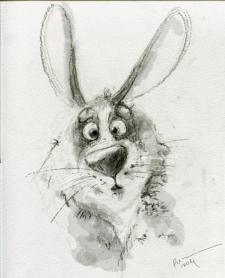 Утро, заяц рисованный смешной картинка