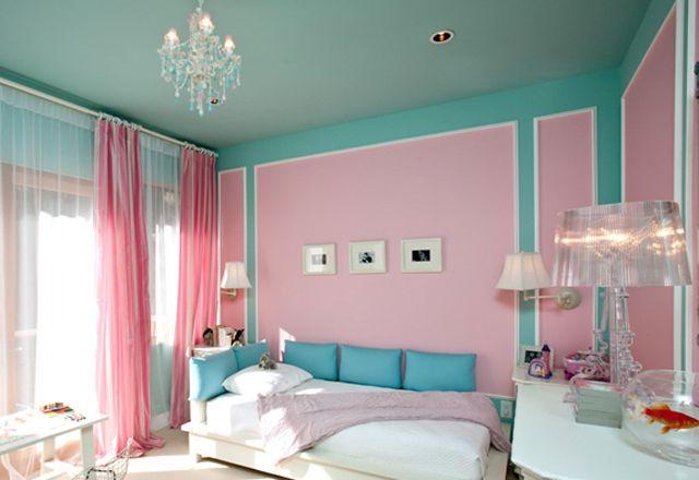 Quarto rosa, azul e branco Decoração de ambientes  ~ Quarto Rosa Com Azul