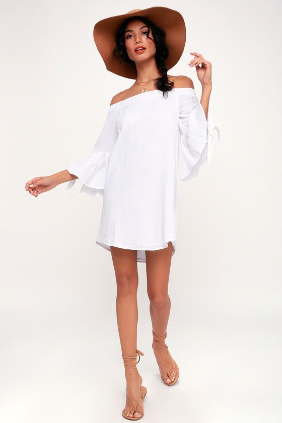 66821721246f Clady White Off-the-Shoulder Flounce Sleeve Shift Dress 3