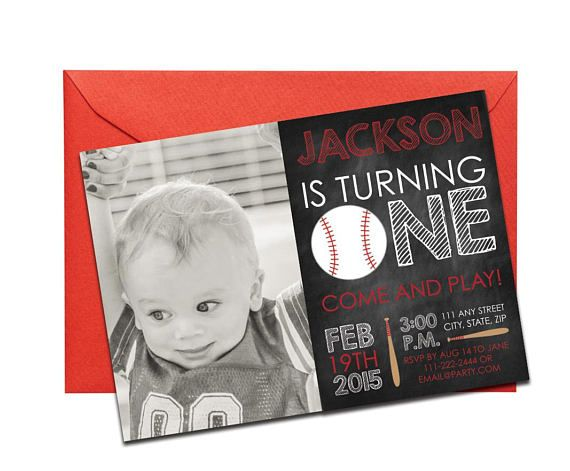 Baseball Chalkboard Invitation with Personal Photo Printed. Click through to find matching games, favors, thank you cards, inserts, decor, and more. Or shop our 1000+ designs for all of life's journeys. Weddings, birthdays, new babies, anniversaries, and more. Only at Aesthetic Journeys