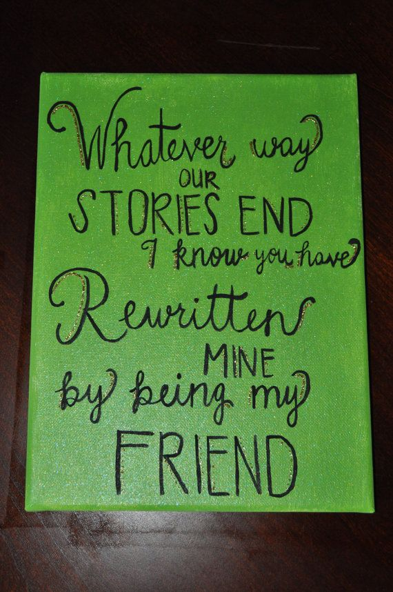 """Hand-Painted Wicked the Musical """"For Good"""" Glitter Quote Canvas, 9 x 12"""