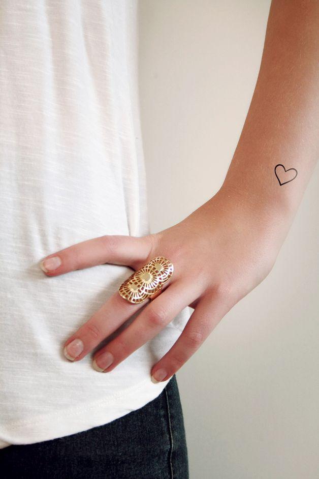 Small hearts temporary tattoo set (4 pieces), black temporary body sticker – a unique product by Tattoorary en.dawanda.com