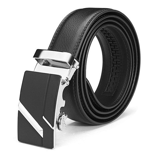120CM Men Second Floor Cowhide Frosted Gold Silver Alloy Automatic Buckle Belt at Banggood