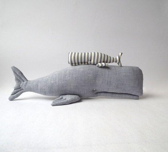Stuffed  Whales Plush grey whales toys. por CherryGardenDolls, $27.00