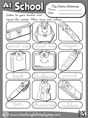 At School - Picture Dictionary (B&W version)