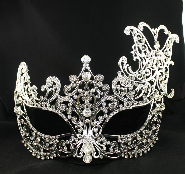 rhinestone Silver Metal  finished Venetian Masquerade Mardigra mask Party Decor #Unbranded