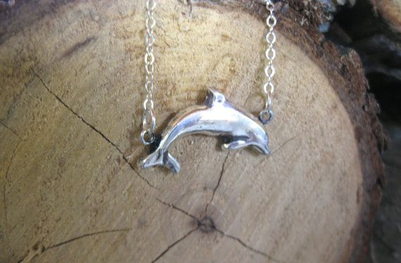 Happy Dolphin Metal Clay necklace by crobinsondesign on Etsy