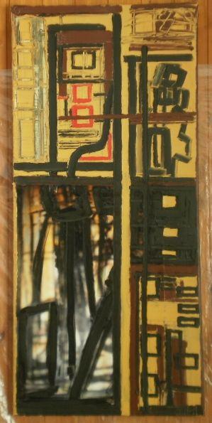Parafrasi di linee 50x109 olio, elemento fotografico