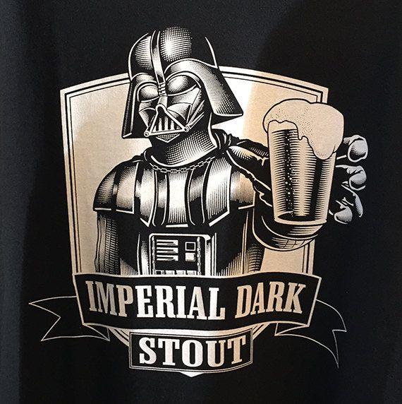 Darth Vader Men's 100% Heavy Cotton Black Imperial Dark Stout Men's Craft Beer T Shirt Star Wars Beer Tshirt
