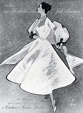 Pierre Balmain 1952 René Gruau, Diner Dress