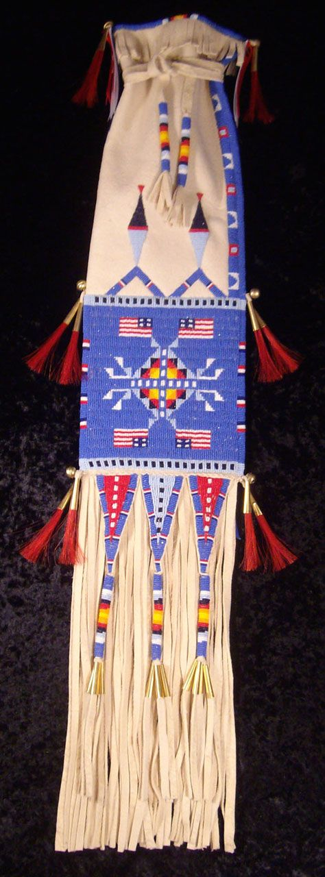 """Honoring Those Who Serve"" -Size 13 cute glass beads on brain tan buck skin. Lauren Good Day Woman Giago (Arikara, Hidatsa, Blackfeet and Plains Cree)"